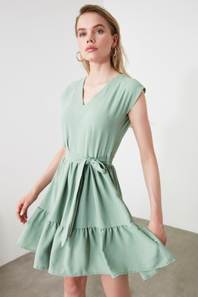 TRENDYOLMİLLA Mint Kuşaklı Elbise TWOSS20EL0628