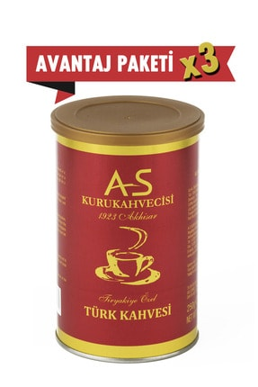 AS Kurukahvecisi Türk Kahvesi 250 Gr. X 3 Adet Teneke Kutu