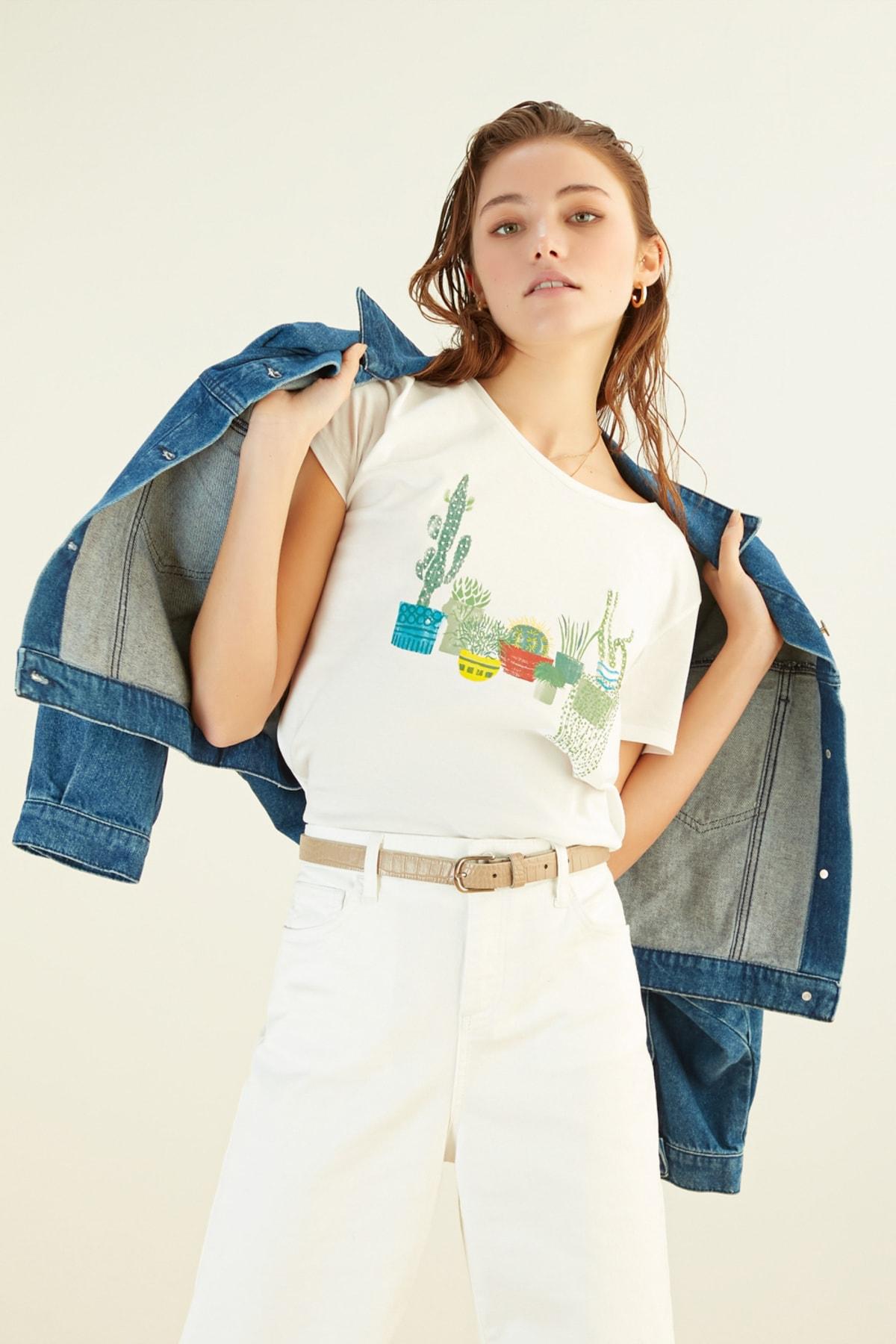 Mudo Kadın Beyaz T-Shirt 384690 2
