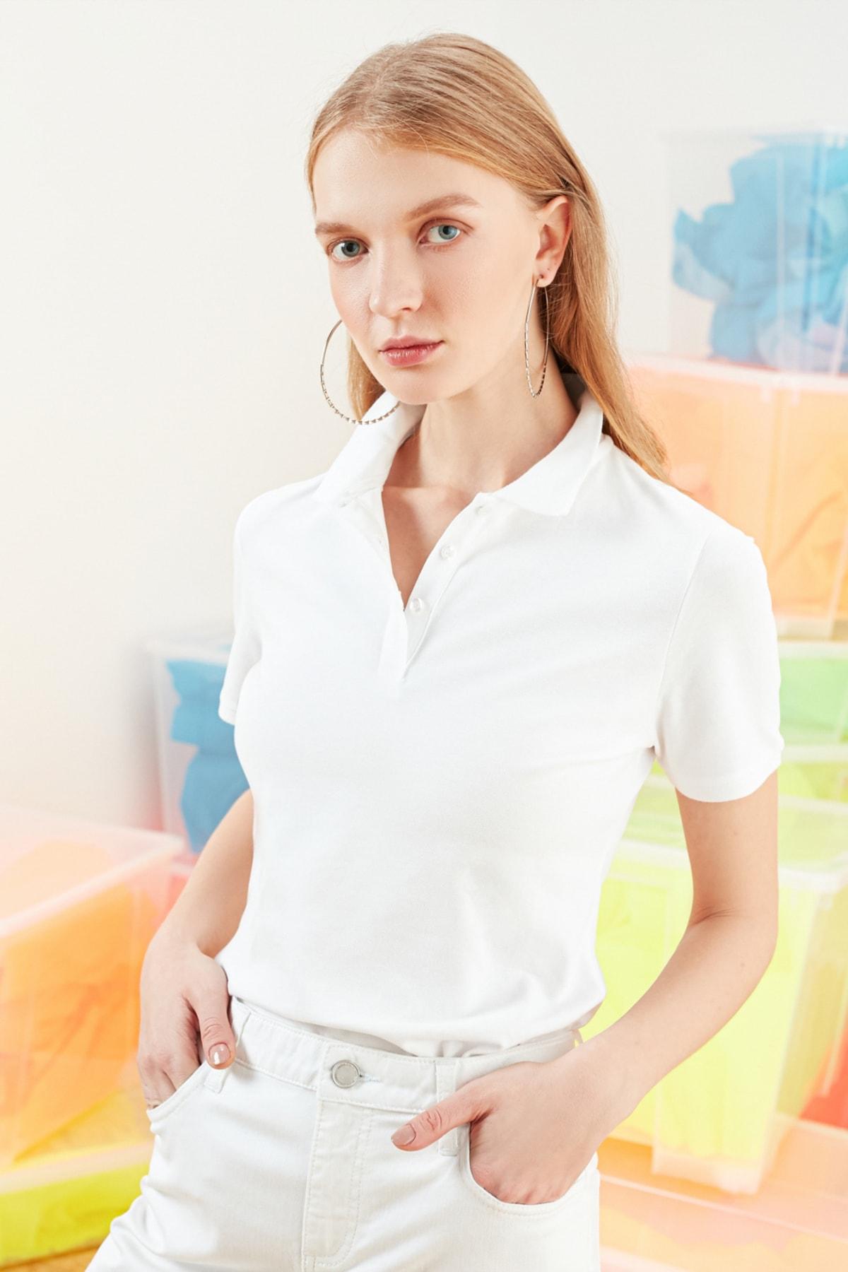 Mudo Kadın Beyaz Polo Yaka Pamuklu T-Shirt 368781 1