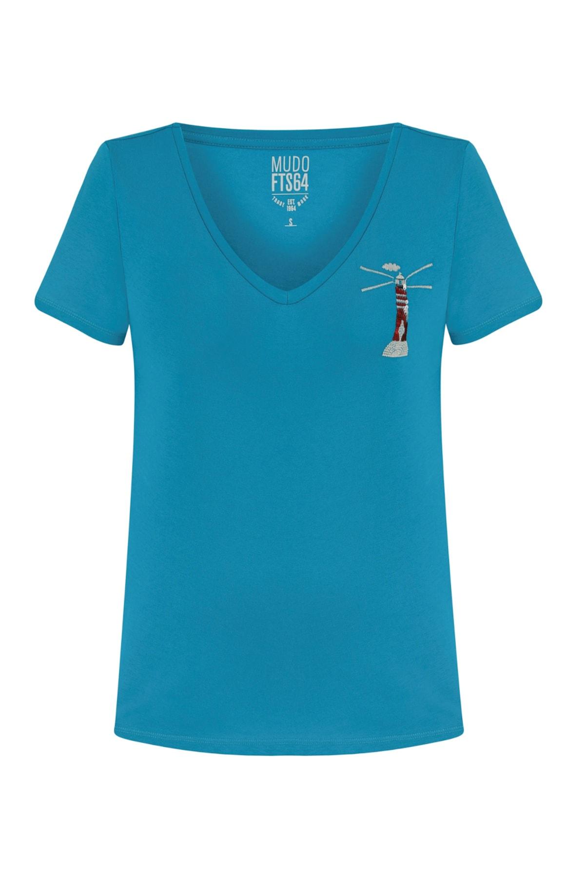 Mudo Kadın Mavi V Yaka Pul İşlemeli Pamuk T-Shırt 380299 1
