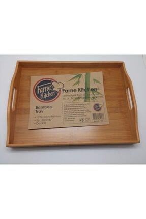 Fame Kıtchen Fame Kitchen Orta Boy Tutmalı Bambu Sunum Servis Tepsisi