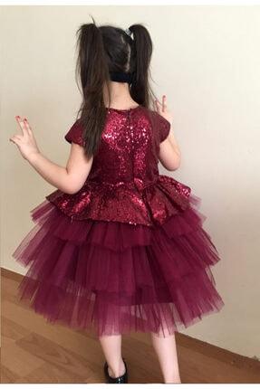 Mixie Kız Çocuk Bordo Doğum Günü Tüllü Abiye Elbise