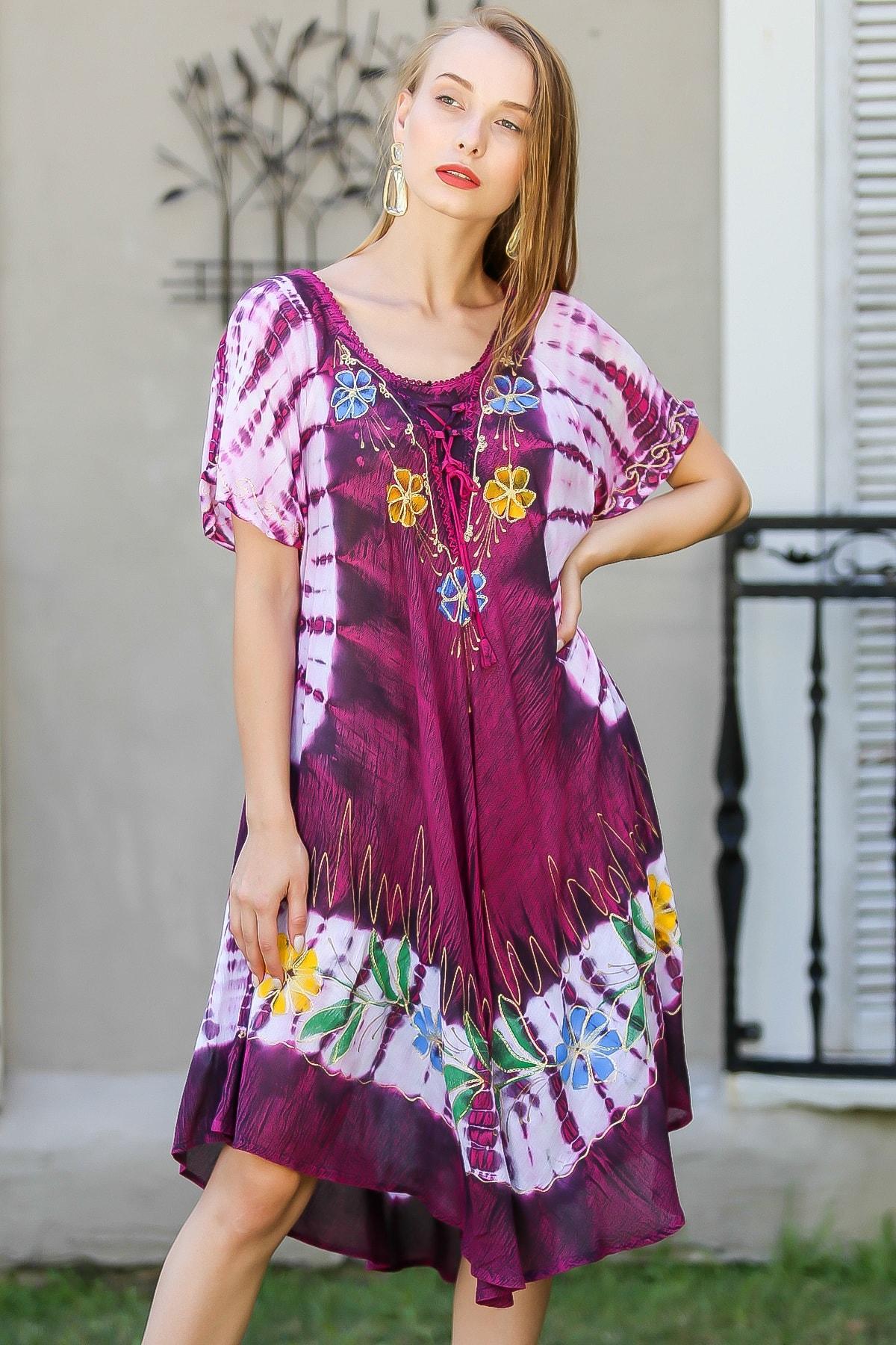 Chiccy Kadın Fuşya Bohem Batik Desenli Çiçek Nakış Detaylı Elbise M10160000EL96421