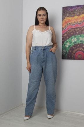 Şans Kadın Mavi Geniş Basen Yıkama Efektli Boy Friend Kot Pantolon 65N17254