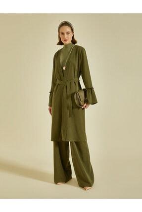 Koton Kadın Yeşil V Yaka Kollari Volanli Uzun Kollu Beli Baglamali Kimono