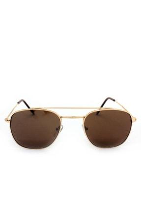 Hane14 Sunny Gold Metal Çerçeveli Köprülü Unisex Küçük Güneş Gözlüğü Kahverengi