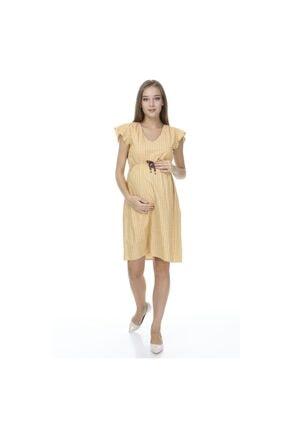 Entarim Kadın Sarı Viskon Hamile Elbise