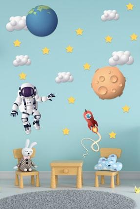 Tilki Dünyası Astronot, Dünya, Göktaşı, Bulutlar Ve Yıldızlar Çocuk Odası Duvar Sticker