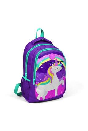 Adalinhome Yaygan Kids Mor Unicorn Resimli Üç Bölmeli Ilkokul Sırt Çantası