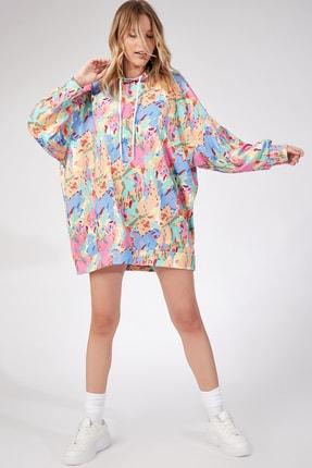 Happiness İst. Kadın Koyu Pembe Desenli Oversize Sweat Elbise  DD00511