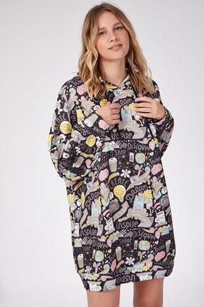 Happiness İst. Kadın Soluk Siyah Desenli Oversize Sweat Elbise  DD00511
