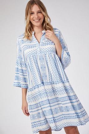 Happiness İst. Kadın Mavi Desenli Midi Yazlık Viskon Elbise DD00706