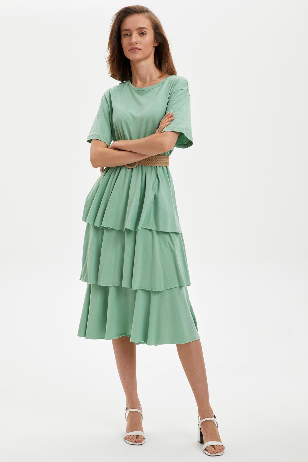 DeFacto Kadın Yeşil Kemerli Fırfırlı Elbise S3511AZ20HS