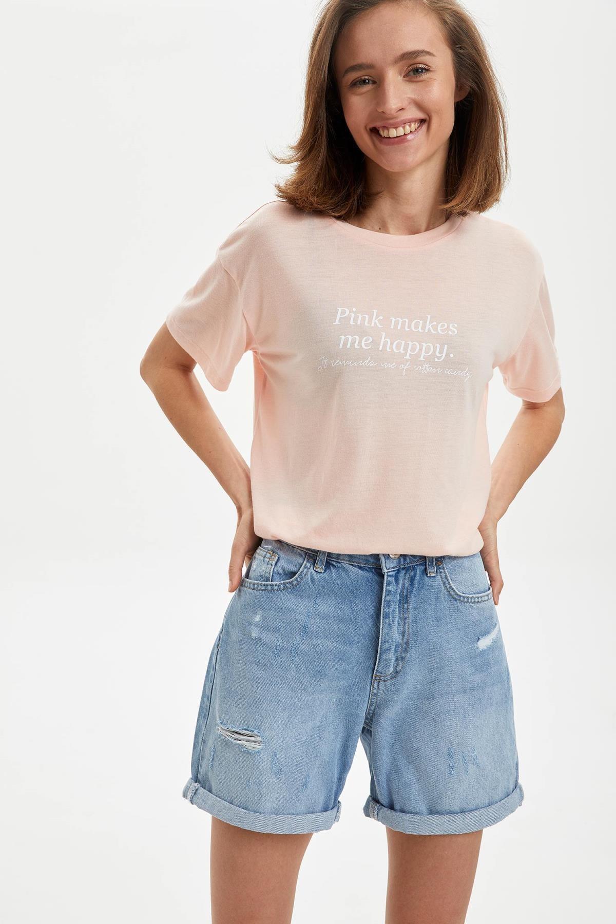 DeFacto Kadın Pembe Baskılı Kısa Kollu Tişört S5178AZ20HS