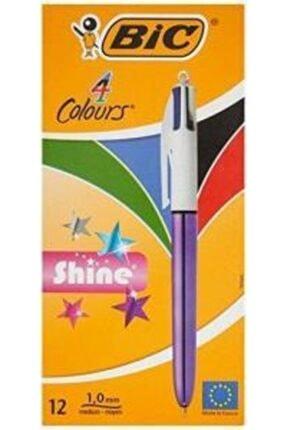 Bic 951351 Tükenmez Kalem Shine 4 Colours Mor Gövde 12 Li (1 Paket 12 Adet)