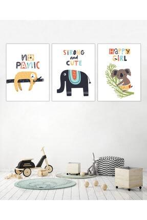 AKILLICA Çerçevesiz 3'lü Dekor Çocuk Odası Poster Seti Özel 350 Gr Kuşe Kağıda Baskı 30x42 Cm