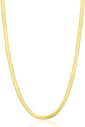 VELCCİ Velccı Kadın Italyan Yassı Gümüş Zincir 24 Ayar Altın Kaplama Ezme Kolye Özel 3 Mm Gold Mücevher