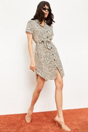 Bianco Lucci Kadın Bej Belden Bağlamalı Puantiyeli Düğmeli Gömlek Elbise 10041007