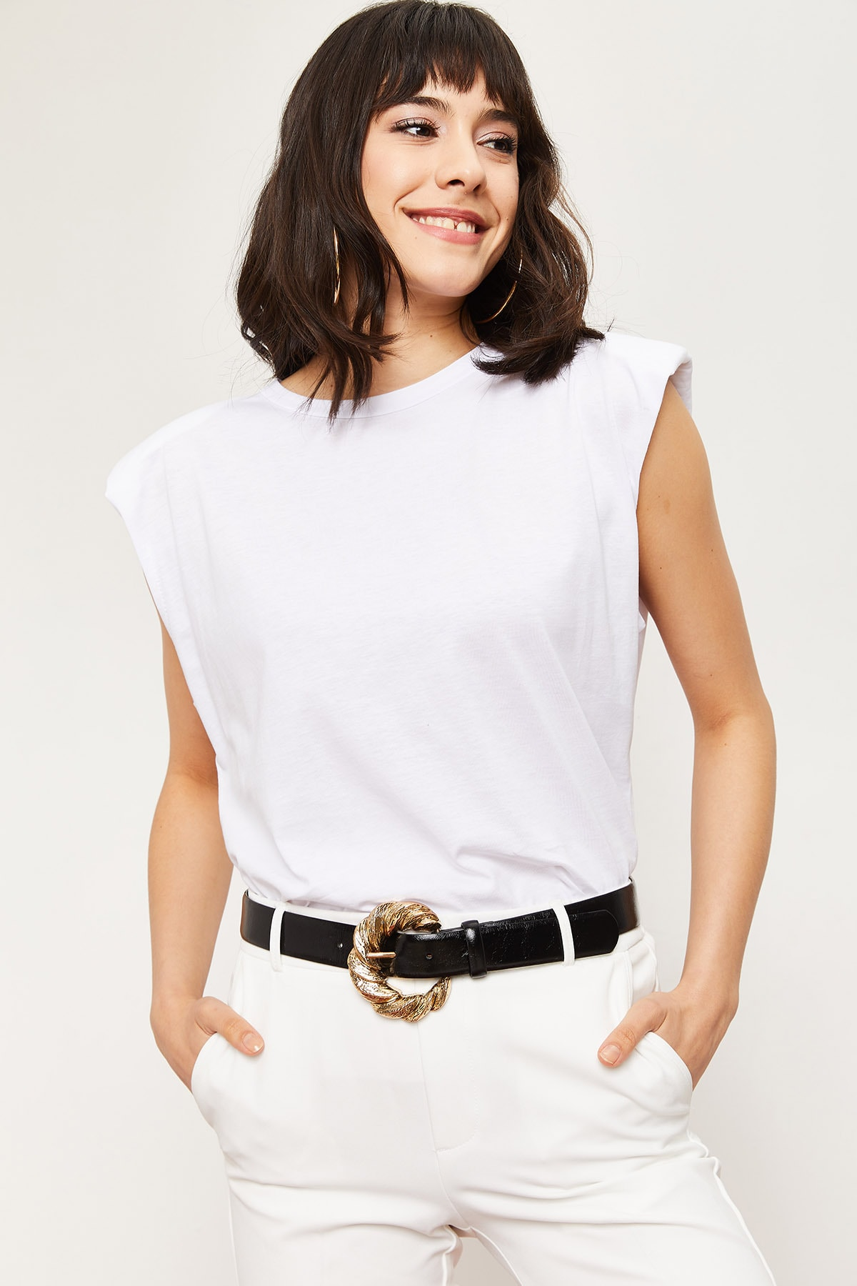 Bianco Lucci Kadın Vatkalı Penye Basic T-shirt 1
