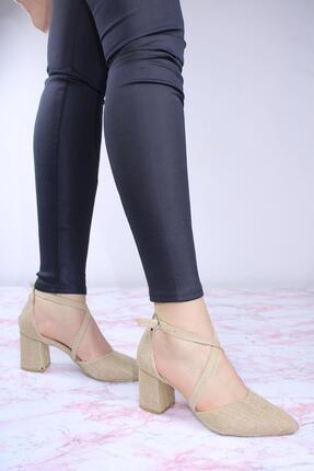 ByErz Kadın Karnıyarık Çapraz Topuklu Ayakkabı