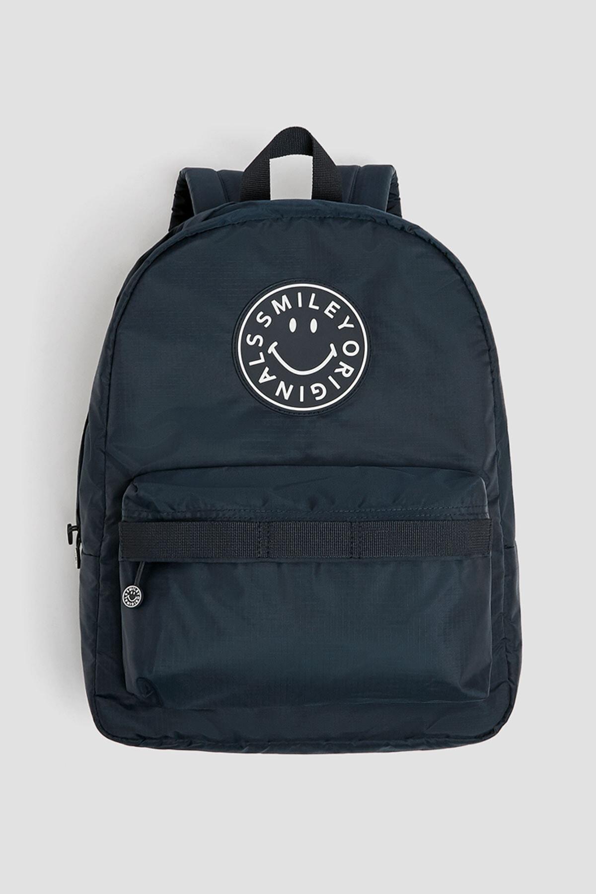 Pull & Bear Kadın Mavi Smiley Logolu Sırt Çantası 14039640 1