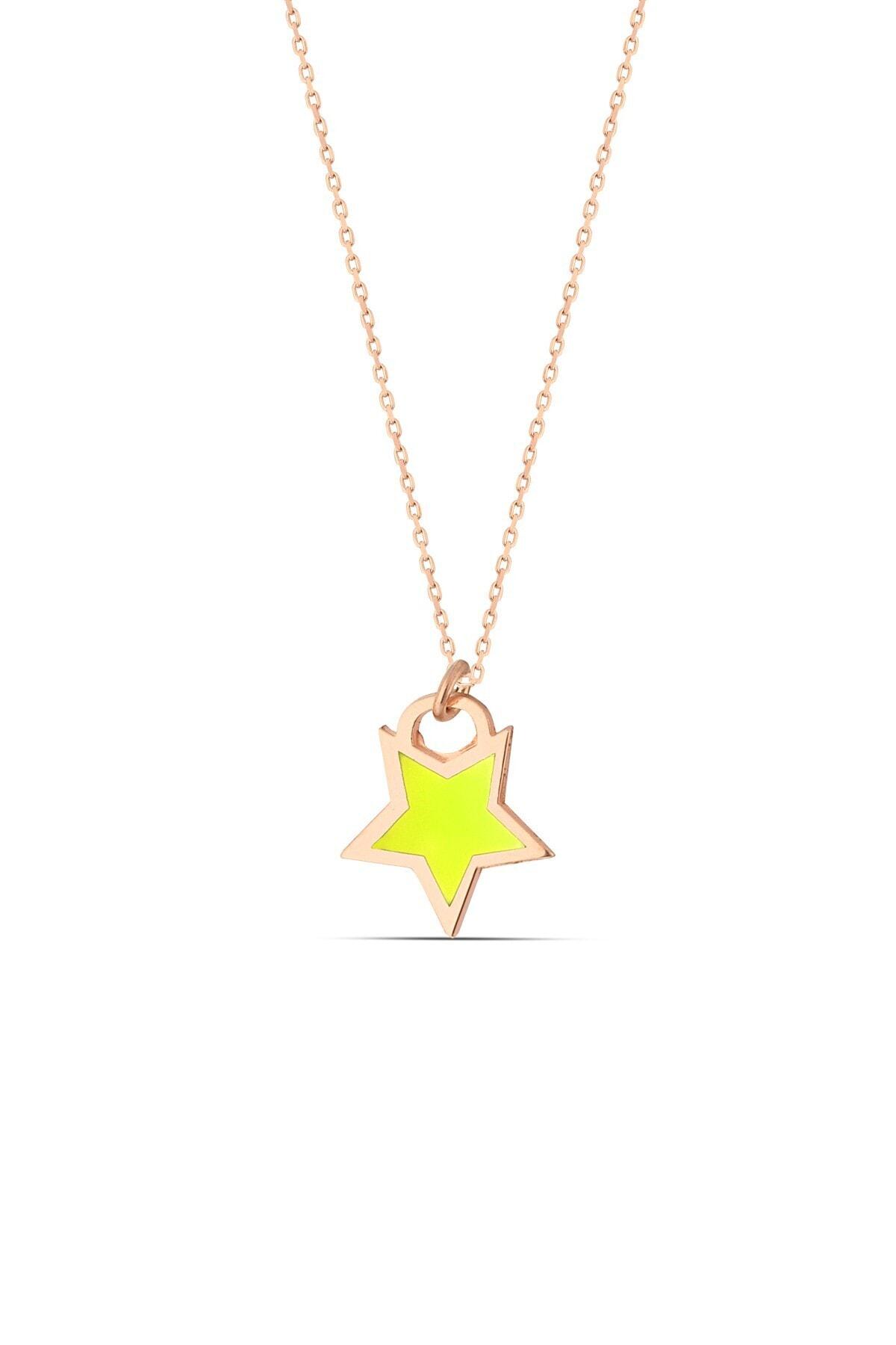 MySilvers Sarı Neon Gümüş Yıldız Kolye 1