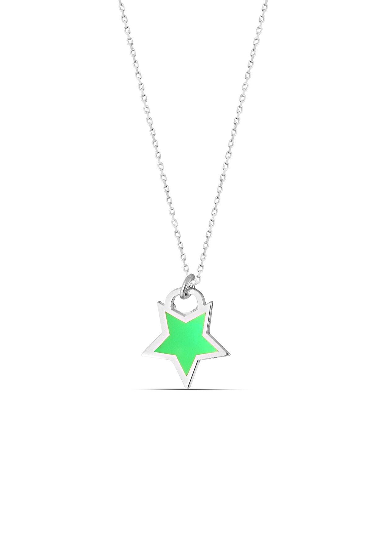 MySilvers Yeşil Neon Gümüş Yıldız Kolye 1