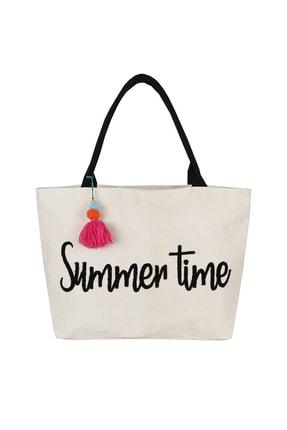 Bakras Summer Time Nakışlı Fermuarlı Cepli Plaj Çantası