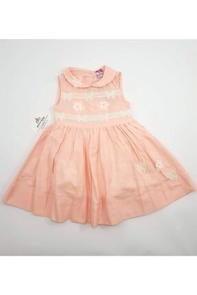 Timo Tımo Kolsuz Önü Dantelli Kız Çocuk Elbise
