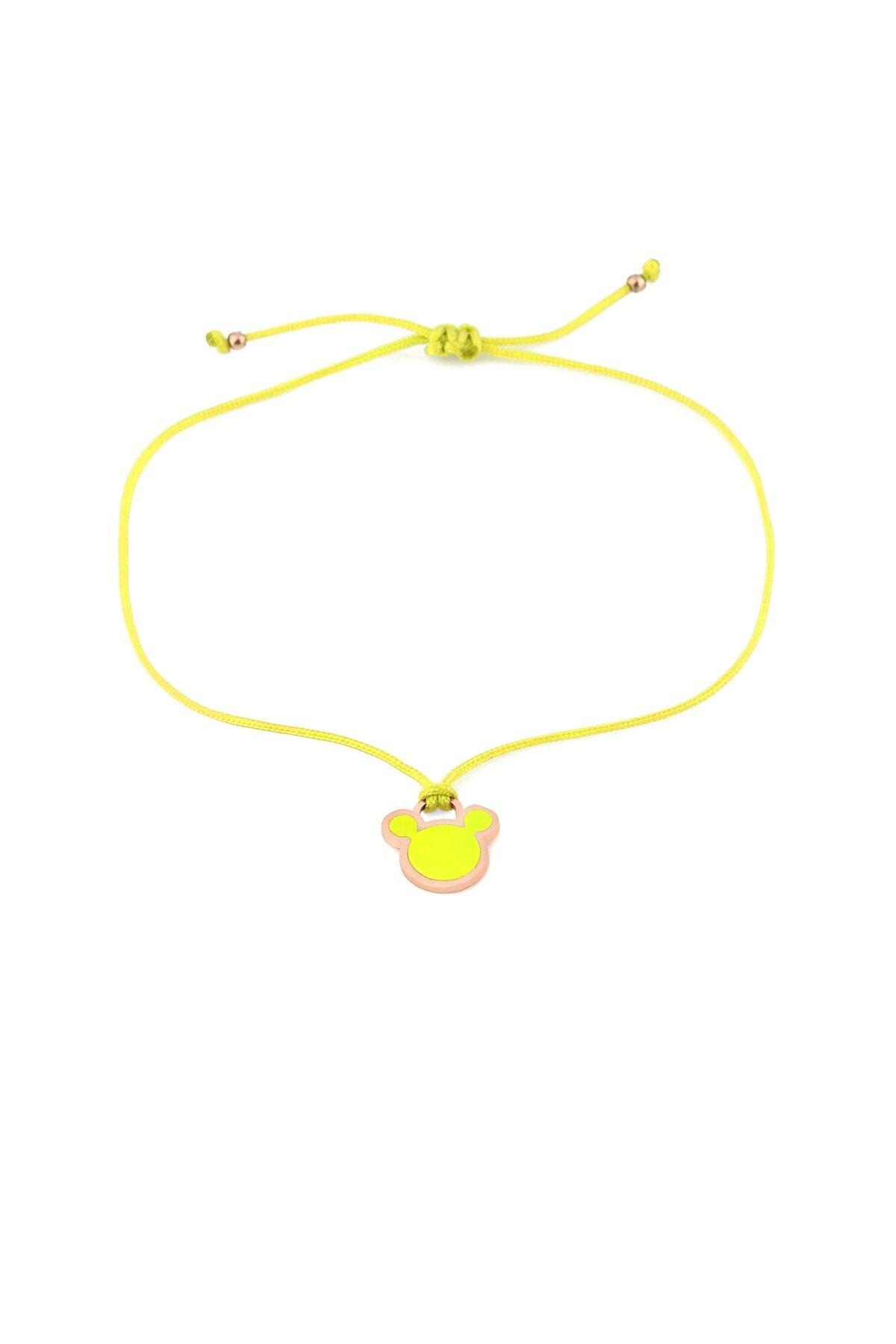 MySilvers Sarı Neon Micky Ipli Gümüş Halhal 1