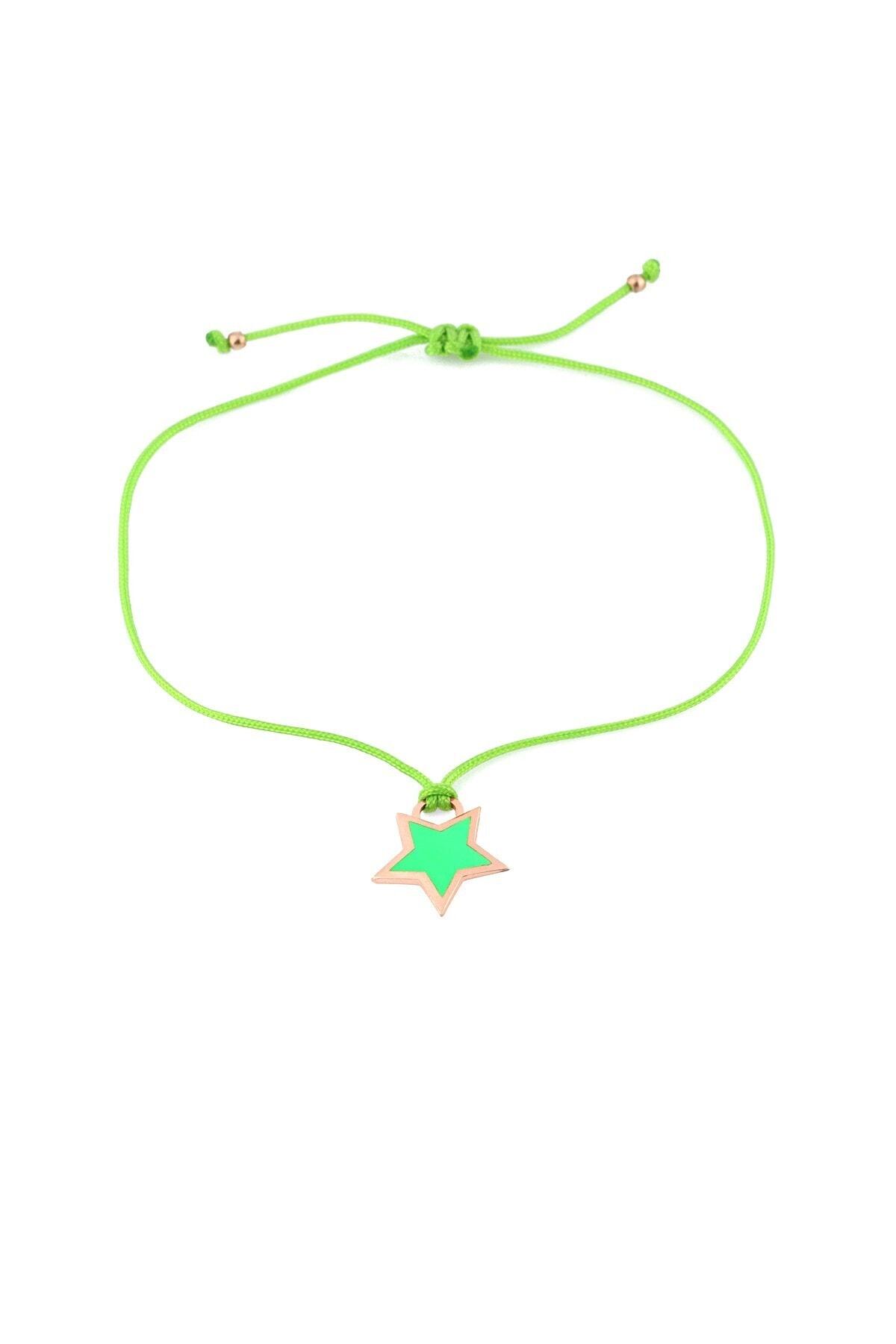 MySilvers Yeşil Neon Yıldız Ipli Gümüş Halhal 1