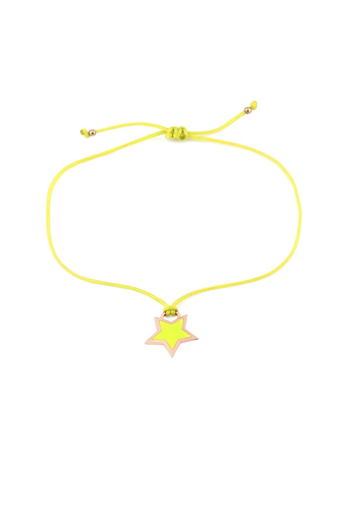 MySilvers Sarı Neon Yıldız Ipli Gümüş Halhal 1