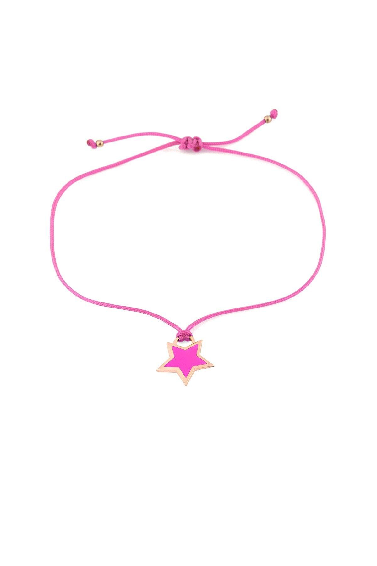 MySilvers Pembe Neon Yıldız Ipli Gümüş Halhal 1