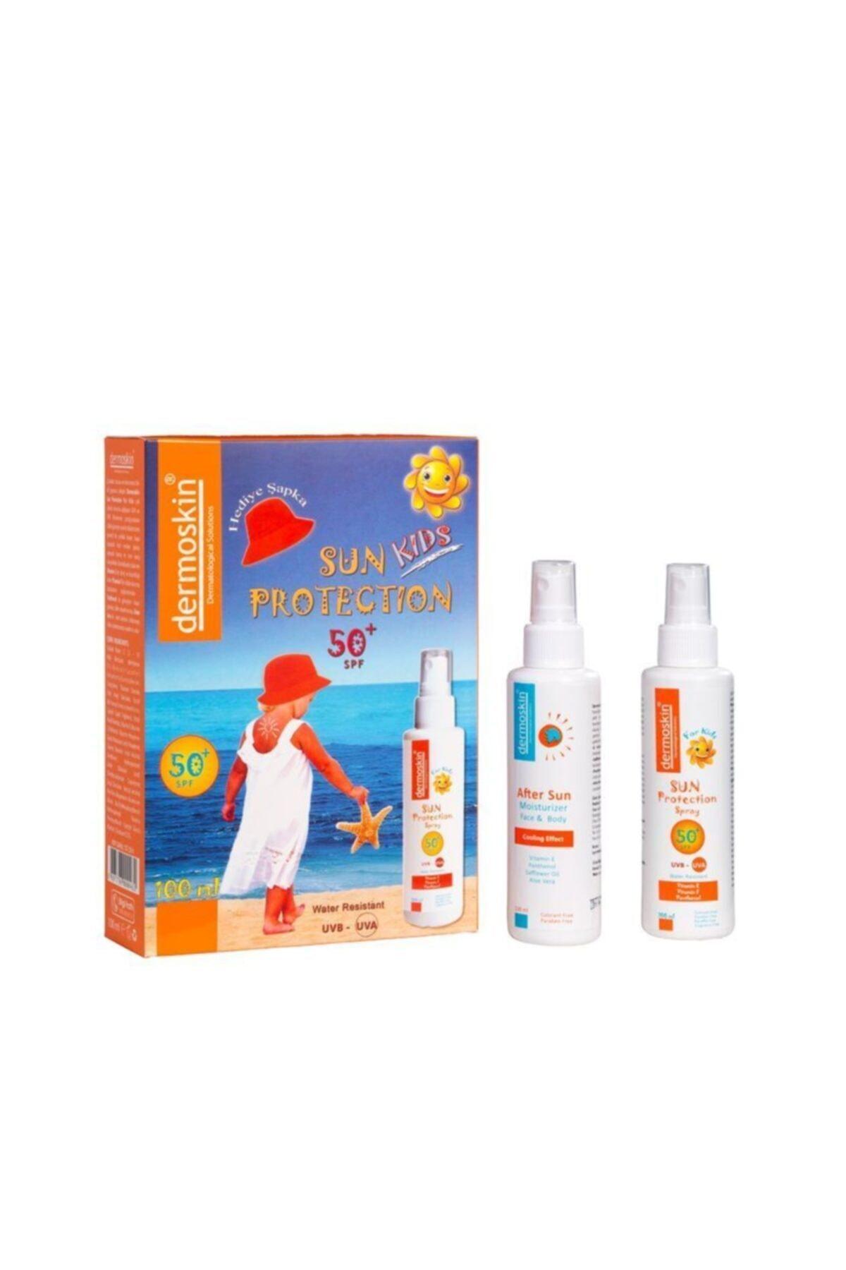 Dermoskin Sun Protection Kids SPF50+ Spray 100 ml - Şapka Hediyeli 8697796000462 1