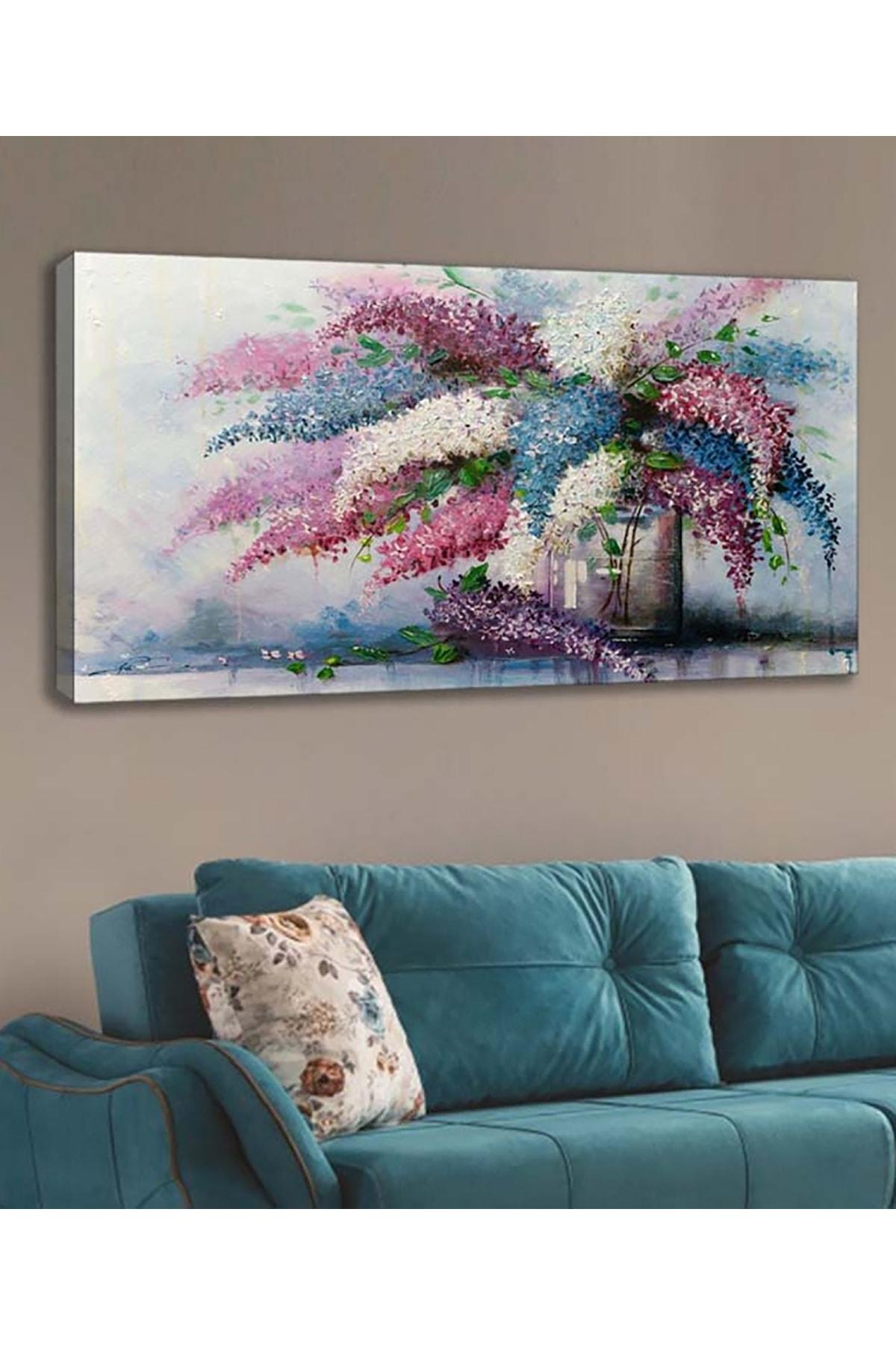 Shop365 Beyaz Çiçek Kanvas Tablo 120x60 cm Sc-206 1