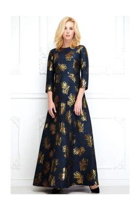 Faberlic Kadın Lacivert Uzun Kollu Desenli Elbise 46 Beden