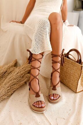 Limoya Kadın Ten Rengi Hasır İp Detaylı Ayakkabı
