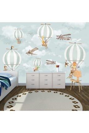 PolatDuvarKağıdı Bebek Odası Balon, Uçak Ve Hayvanlı Duvar Kağıdı