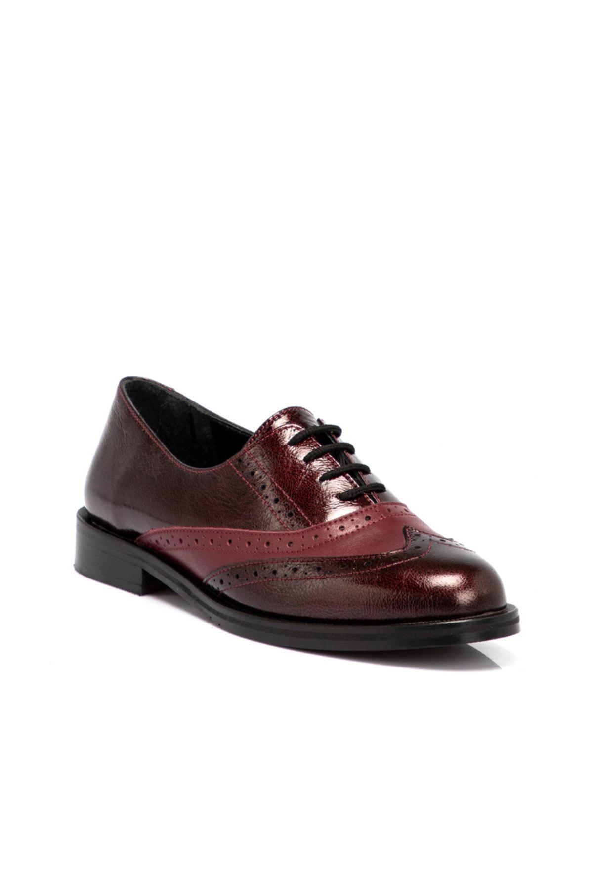 Tergan Kadın Bordo Deri Ayakkabı 64617f14 1