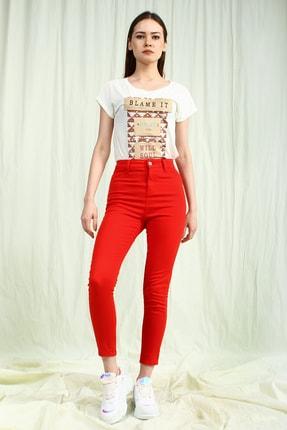 Collezione Kadın Kırmızı Yüksek Bel Skinny Kadın Pantolon