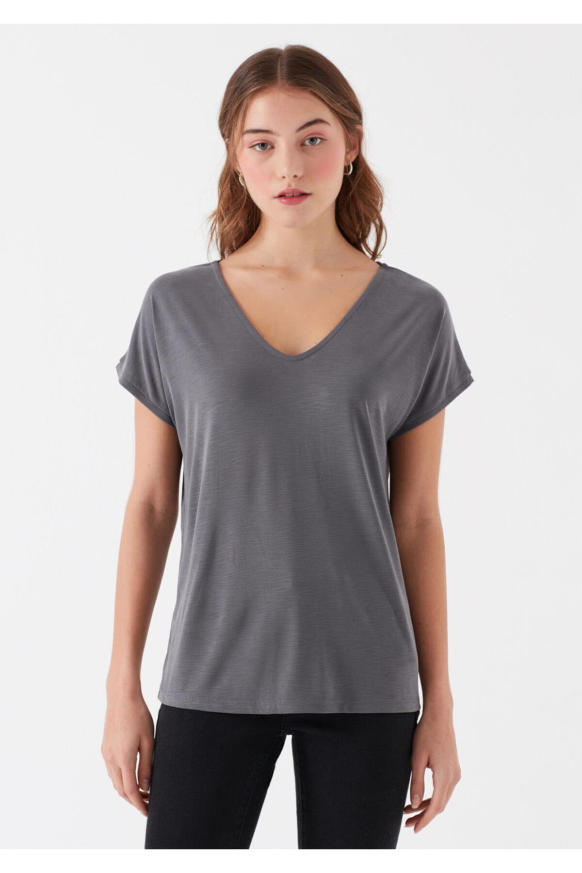 Mavi Kadın Gri Modal Tişört 2