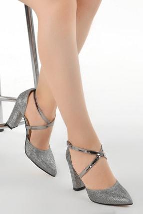 Ayakland Kadın Platin Tier 13600 Kum Simli 8 cm Topuk Ayakkabı