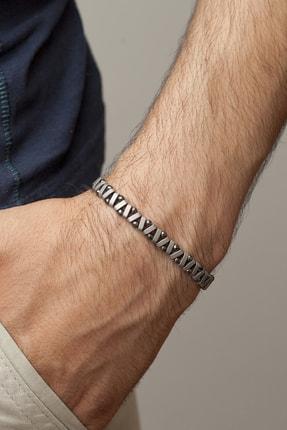 Gümüş Tezgahi Zikzak Model Hematit Doğaltaş Füme Erkek Bileklik