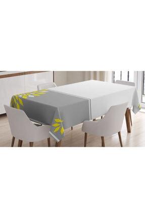 Orange Venue Soyut Sarı Beyaz Çiçekli Masa Örtüsü