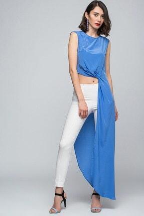 Womenice Kadın Mavi Pelerin Bluz