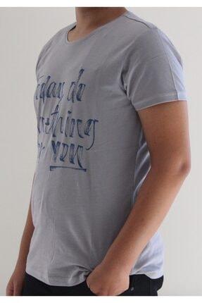 Lion Erkek Gri Bisiklet Yaka T-Shirt