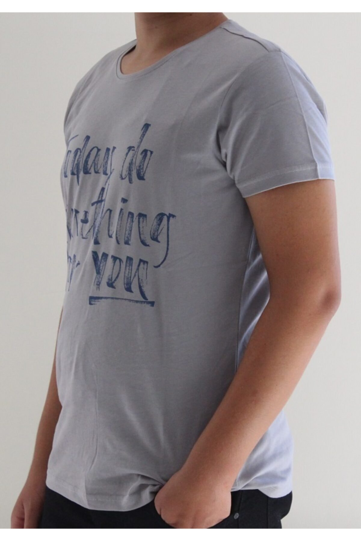 Lion Erkek Gri Bisiklet Yaka T-Shirt 1