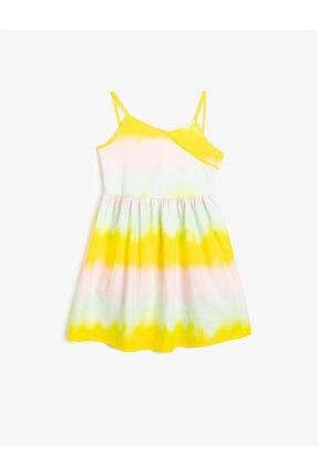Koton Kız Çocuk Sarı Pamuklu Çok Renkli Askili Elbise