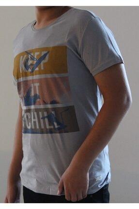 Lion Erkek Gri Bisiklet Yaka T-Shirt 2709